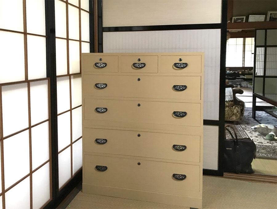 新潟県 中澤様 桐たんす 整理たんす 修理・再生・リフォーム 砥の粉仕上げ その2 再生後